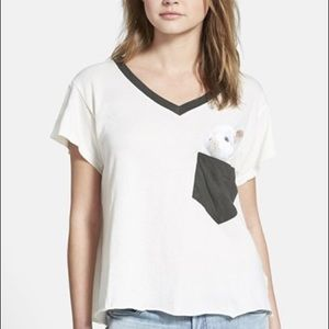 Wildfox Couture Pocket Bunny V-Neck Tee Medium